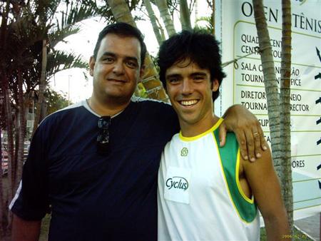 De Zotti e o tenista Bruno Rosa, em Floripa