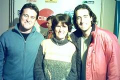 Ana com os tenistas Eduardo Frick e Fernando Meligeni, no Torneio em Uruguaiana