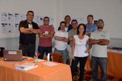 Com colegas da Imprensa no Campeonato Internacional Juvenil de Tênis de Porto Alegre