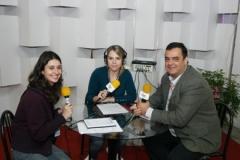 De Zotti com as colegas jornalistas Manoela Machado e Sthefany Sander