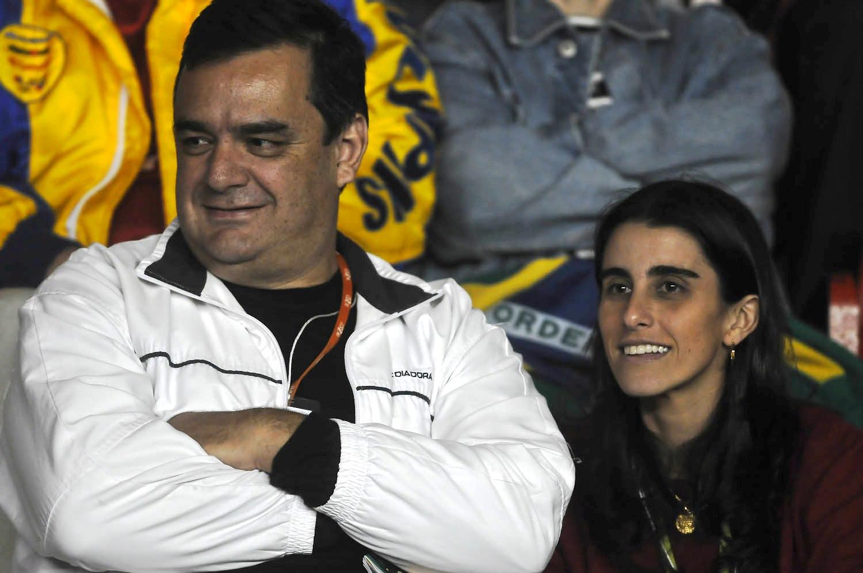 Na Copa Davis - Brasil x Equador, com a colega jornalista Rafaela Meditsch - 2009