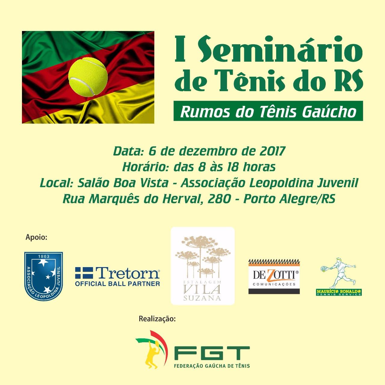 Seminário colocará em discussão os rumos do tênis gaúcho